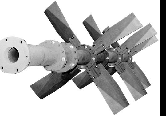 hollow shaft with four group impeller