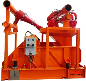 hydrocyclone (mud cleaner) working in drilling mud