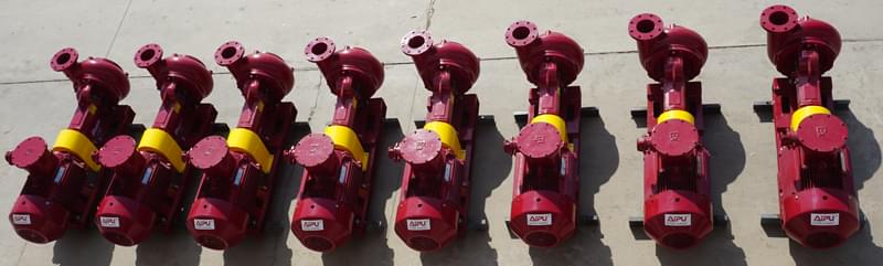 a row of centrifugal pumps